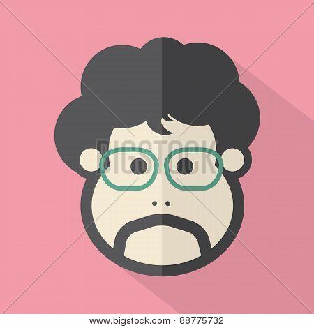 Single Man's Face Flat Design Icon.