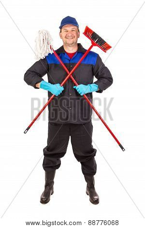 Cleaner in uniform with broom and mop