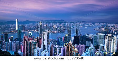 Kong Skyline And Victoria Harbor At Sunset