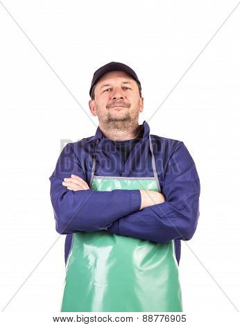 Smiling welder crossed arms
