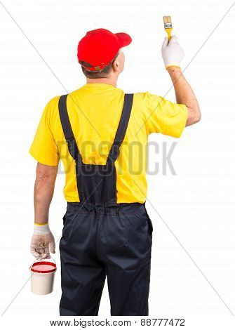 Worker with brush and bucket