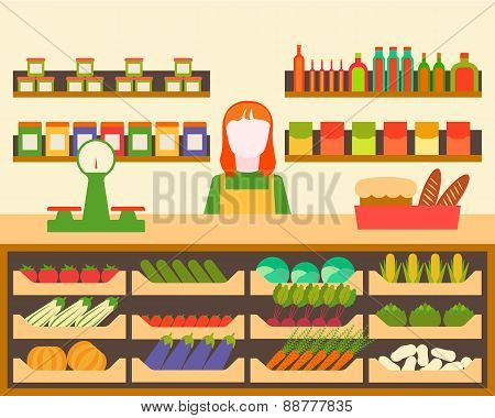 Interior grocery store vendor standing behind the counter. Vector illustration.