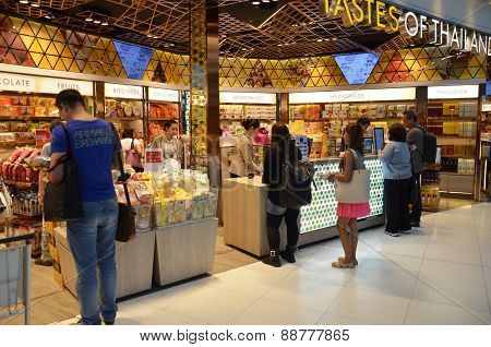 Unidentified People Shop Food At A Duty Free Shop, Bangkok