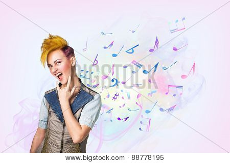 Portrait of screeming punk girl