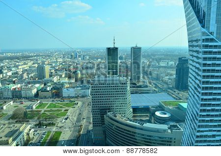 aerial panorama view of Warsaw downtown