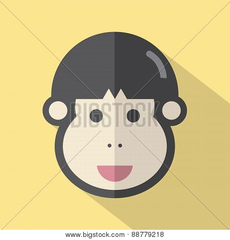 Single Young Man's Face Flat Design Icon.