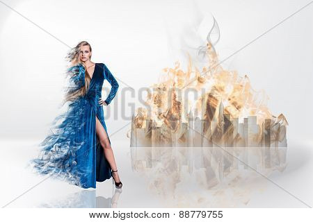 Fantasy magic portrait of sexy beautiful woman