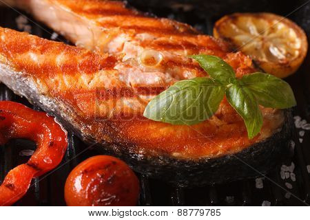 Grilled Red Fish Steak Salmon Macro And Vegetables