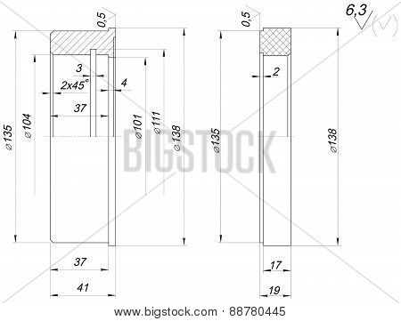 Ring sketch with spans. Engineering drawing