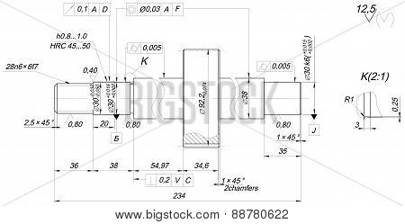 Shaft sketch with chamfers. Engineering drawing
