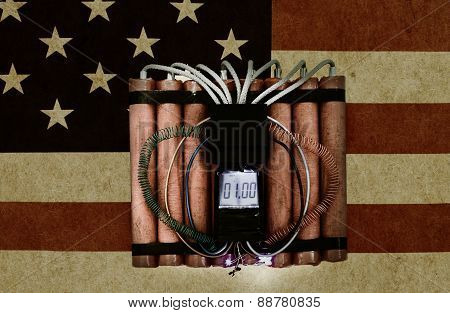 American Flag And Time Bomb