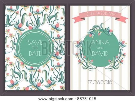 Vector Retro Card Template With Seamless Floral Pattern Background. Turquoise Flower Wreath And Ribb