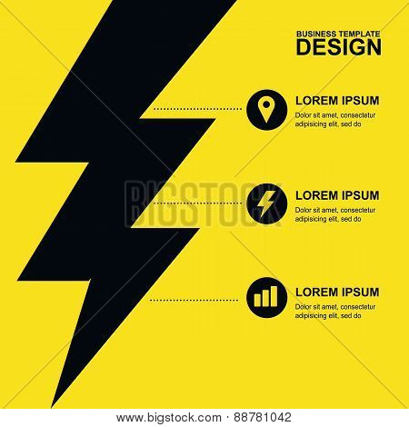 Abstract Yellow, Black Background With Lightning And Icons. Concept For Brochure Cover, Flyer, Poste