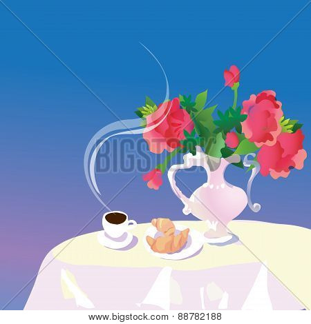 cup of coffee and pastries on the table,