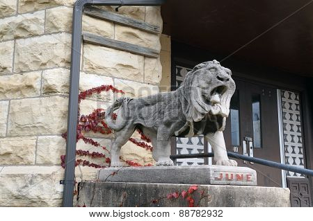 Lion Sculpture in Front of Old Joliet Women's Prison