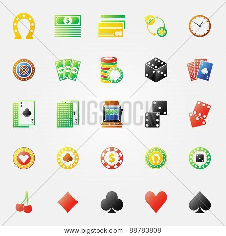 Casino icons bright set