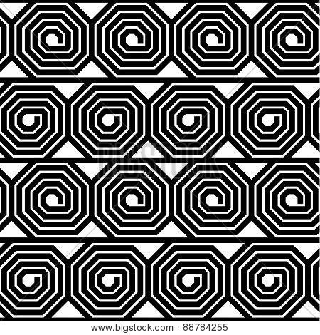Abstract Black And White Octagon Spiral Vector Seamless Pattern