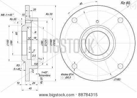 Bearing sketch with chamfers. Engineering drawing