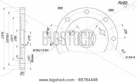 Expanded bearing sketch with angle degree