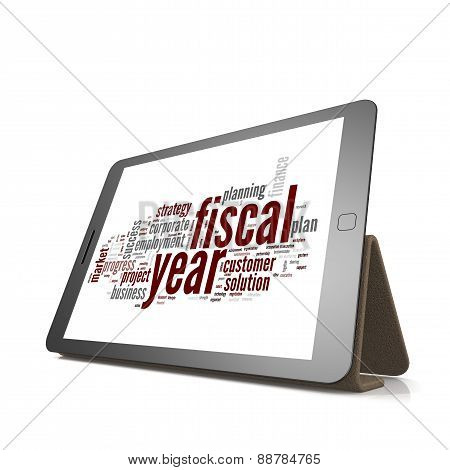 Fiscal Policy Word Cloud On Tablet