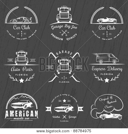 Set Of Vintage Badges Car Club And Garage