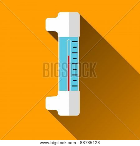 Thermometer Flat Icon With Long Shadows, Vector Illustration