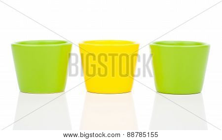 Group Of Empty Ceramic Flower Pots