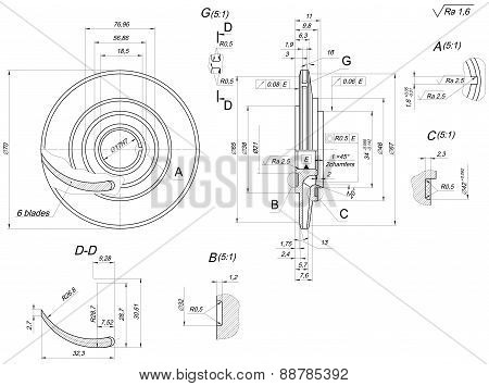 Engineering sketch of wheel with blades