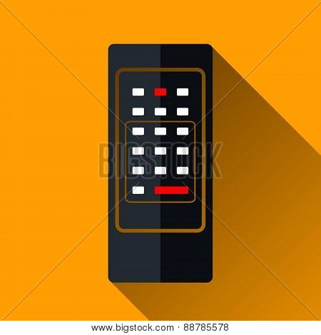 Retro Remote Control Icon, Long Shadow Design, Vector Illustrati