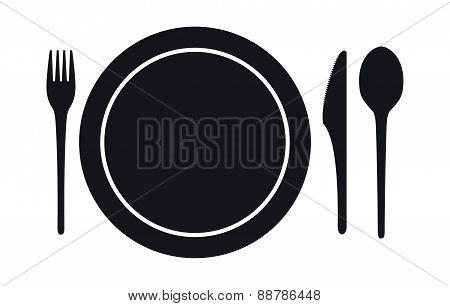 Disposable Tableware Icon, Vector Illustration