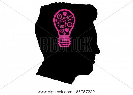 Idea and innovation graphic against silhouette of head