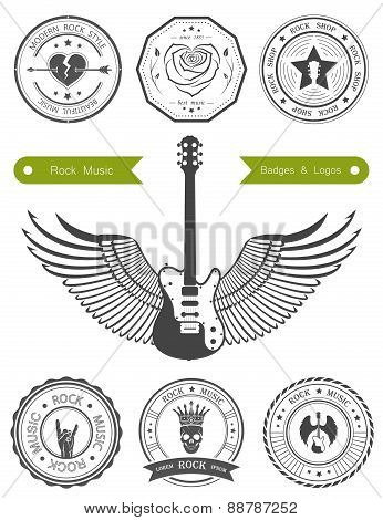 Set Badges Of Rock Music