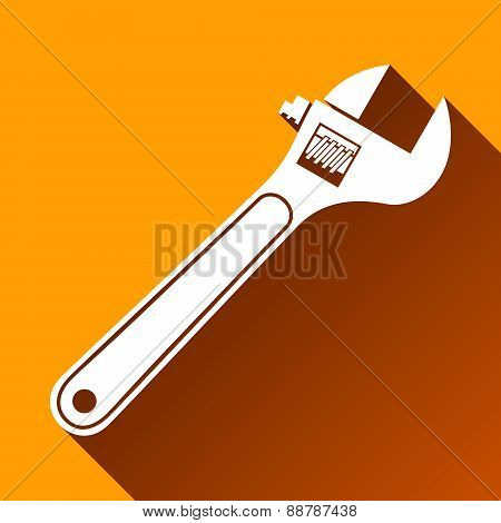 Wrench Icon, Long Shadow, Vector Illustration