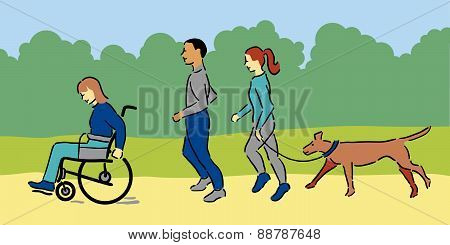 Group of people exercising with pet dog outside