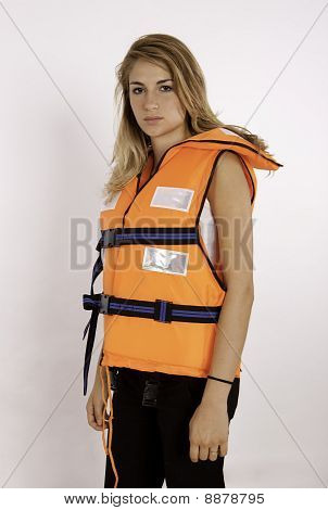 Teen Girl Wearing A Life Vest
