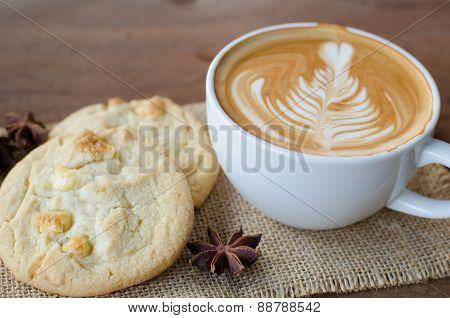 Hot Coffee And White Chocolate Macadamia Cookie