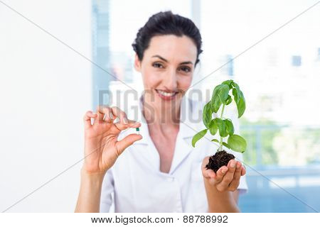 Scientist holding basil plant and pill in laboratory