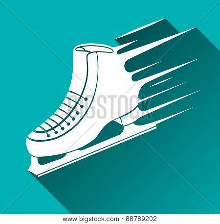 Ice Skate Icon, Long Shadow, Vector Illustration