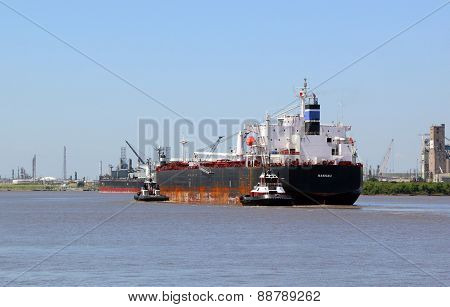 Cargo Ship Coming In To Port