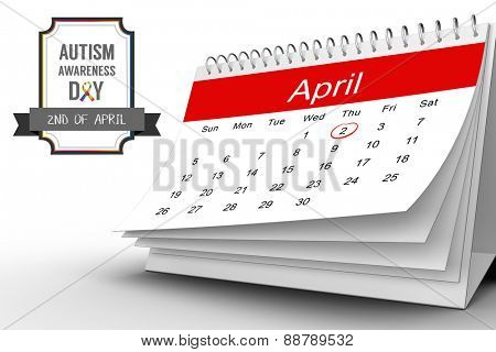 Autism awareness day against april calendar