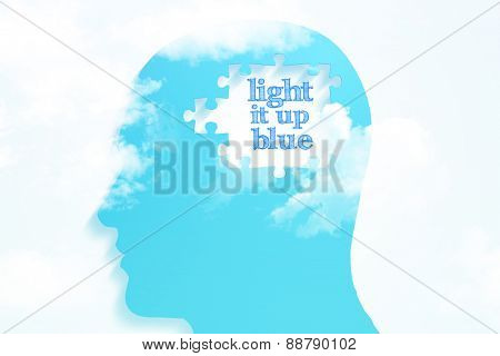 light it up blue against blue jigsaw head with missing pieces