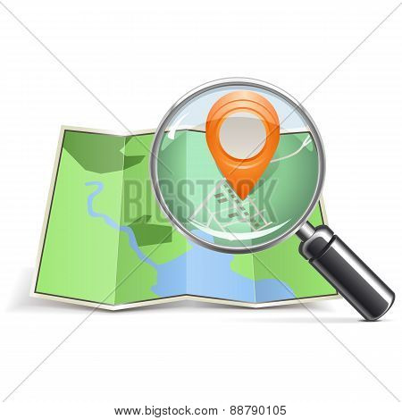 Vector Loupe With Map Pointer