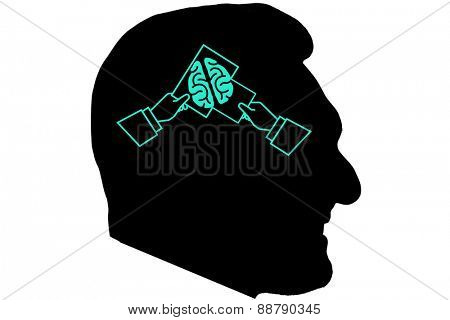 Hands forming a picture graphic against silhouette of head