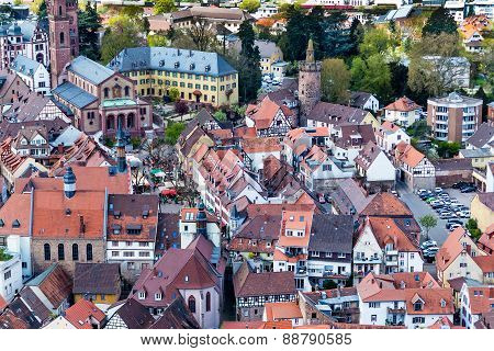 The city of Weinheim from the Burg Windeck, Germany
