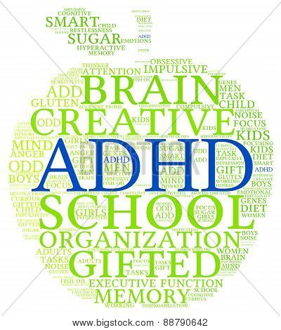 ADHD Apple Shaped Word Cloud