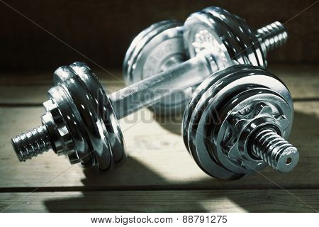 Big dumbbells close up
