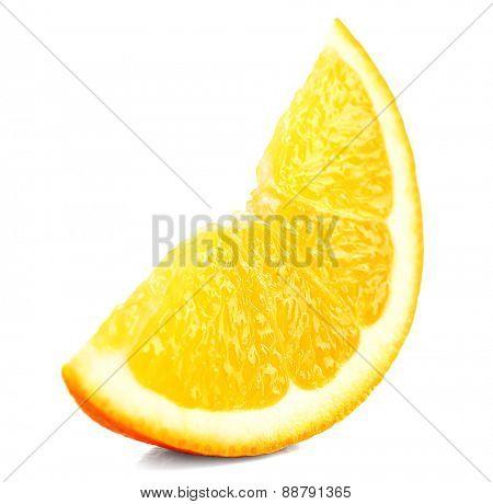 Juicy slice of orange isolated on white