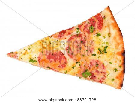 Slice of tasty pizza isolated on white
