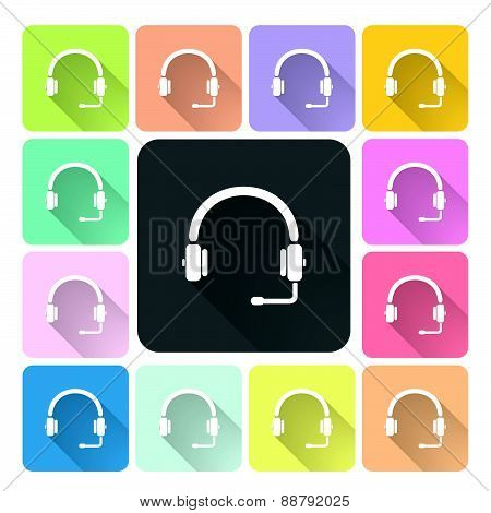 Headphones Icon Color Set Vector Illustration