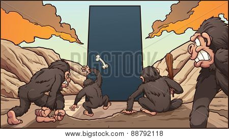 A group of hominids attacking a dark monolith. Vector clip art illustration with simple gradients. Each element on a separate layer.